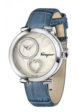 CUORE FERRAGAMO DIAMONDS BLUE LEATHER STEEL WATCH 39MM