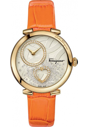 CUORE FERRAGAMO DIAMONDS ORANGE LEATHER STEEL WATCH 39MM