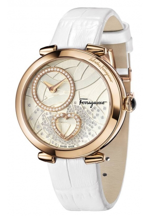 CUORE FERRAGAMO DIAMONDS WHITE LEATHER STEEL WATCH 39MM
