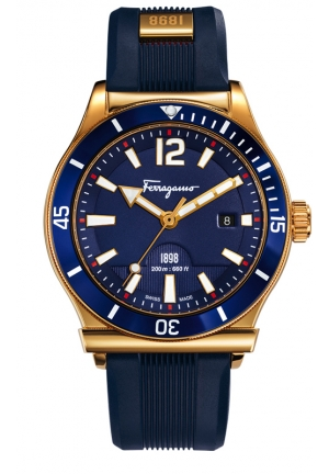 FERRAGAMO 1898 SPORT Analog Display Swiss Quartz Blue Watch 43mm