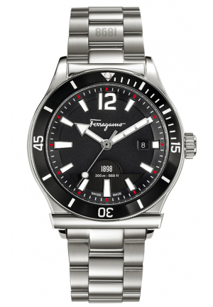 FERRAGAMO 1898 SPORT STAINLESS STEEL BRACELET WATCH , 43MM