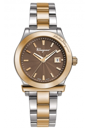 FERRAGAMO 1898 BROWN DIAL TWO-TONE STAINLESS STEEL, 33MM