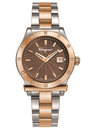 FERRAGAMO 1898 DIAMONDS TWO-TONE STEEL BROWN DIAL, 33MM