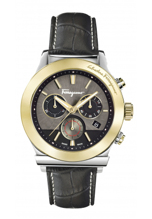 CHRONOGRAPH GOLD IP BLACK CALFSKIN DATE FFM120016 42MM