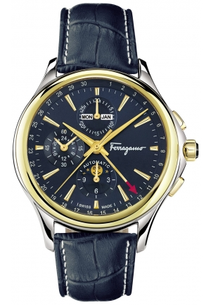 FERRAGAMO TIME CHRONOGRAPH GOLD/STAINLESS AUTOMATIC MEN'S WATCH, 44MM