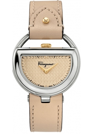 Salvatore Ferragamo Women's  BUCKLE Analog Display Quartz Beige Watch