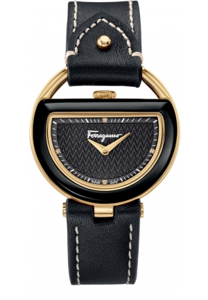 Salvatore Ferragamo Women's BUCKLE Analog Display Quartz Black Watch