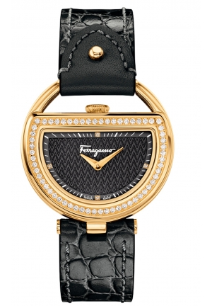 BUCKLE DIAMONDS GOLD IP BLACK LEATHER, 37MM