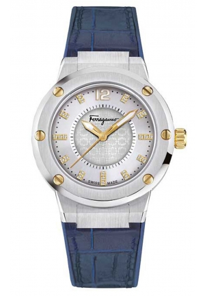F-80 LADIES BLUE CALFSKIN WATCH, 33MM