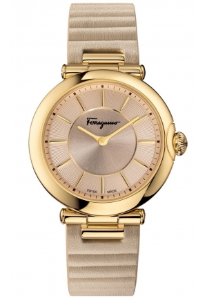 FERRAGAMO STYLE SYMPHONIE GOLD-TONE/BEIGE LADIES WATCH, 36MM