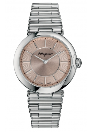 FERRAGAMO STYLE SYMPHONIE PINK SUNRAY DIAL LADIES WATCH, 36MM