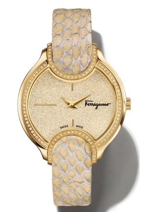 SALVATORE FERRAGAMO Signature Analog Display Quartz Beige-Silver Watch 38 mm