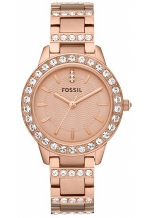 FOSSIL Crystal Embellished Bracelet Watch Rose Gold 34mm