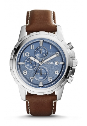 FOSSIL Dean Chronograph Leather Watch - Dark Brown 45mm