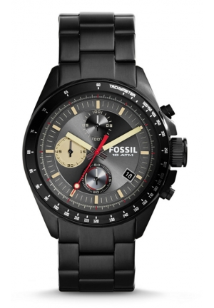 FOSSIL Decker Chronograph Stainless Steel Watch - Black 44mm