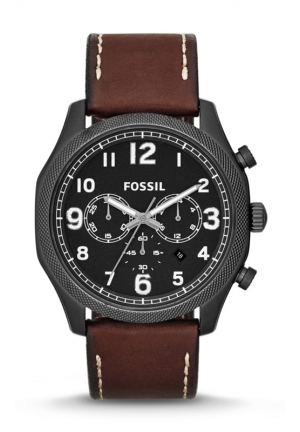 FOSSIL Foreman Chronograph Leather Watch - Brown 45mm