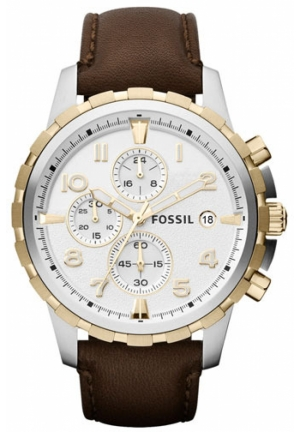 FOSSIL Fossil 'Dean' Chronograph Leather Strap Watch, Brown 45mm
