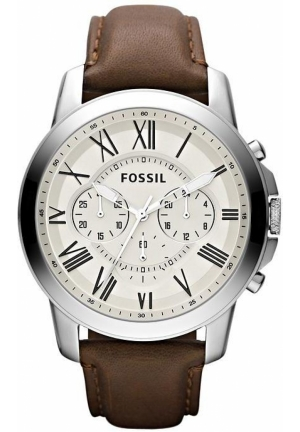 FOSSIL Fossil Grant Brown Leather Watch 44mm FS4735