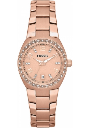FOSSIL  Ladies Rose Gold-Tone & Crystal Watch 28mm