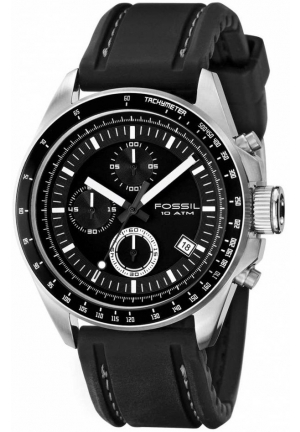 FOSSIL Fossil Men's Black silicon Strap Black Analog Dial Chronograph Watch 44mm
