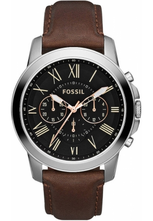 FOSSIL FOSSIL Men's Grant Silver-Tone & Leather Chronograph Watch 44mm