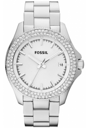 FOSSIL Fossil Round Crystal Bezel Bracelet Watch, Silver 36mm