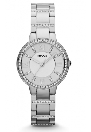 FOSSIL Fossil 'Virginia' Crystal Accent Bracelet Watch, Silver 30mm