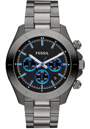 FOSSIL Fossil Watch, Men's Chronograph Retro Traveler Gray-Tone Stainless Steel Bracelet 45mm