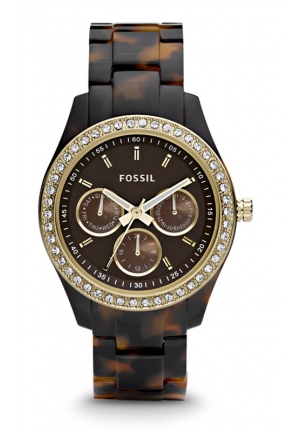FOSSIL Gold-Tone Stella Multifunction Resin Watch - Tort with 37mm