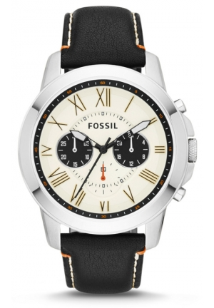 FOSSIL Grant Chronograph black Leather Watch 44mm