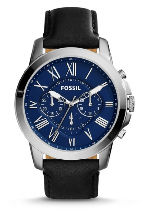 FOSSIL Grant Chronograph Leather Watch - Black 44mm