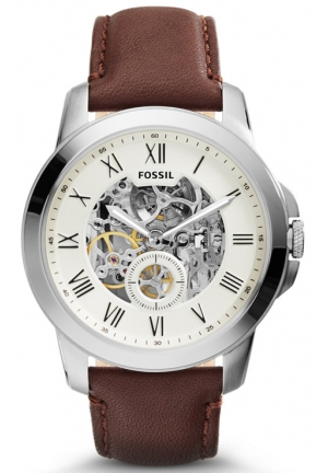 FOSSIL Grant Two-Hand Automatic Brown Leather Watch 44mm