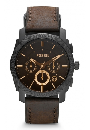 FOSSIL Machine Mid-Size Chronograph Leather Watch - Brown 42mm