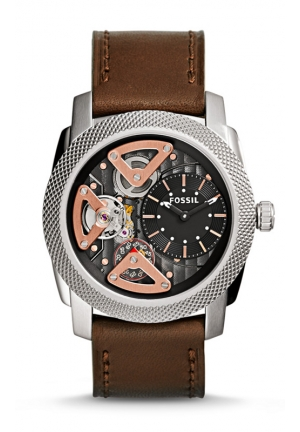 FOSSIL Machine Two-Hand Twist Leather Watch -Brown 45mm