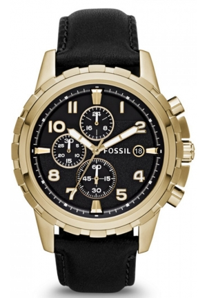 FOSSIL Men's Chronograph Dean Black Leather Strap Watch 45mm
