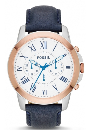 FOSSIL Men's Chronograph Grant Navy Leather Strap Watch 44mm