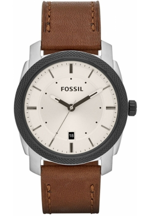 FOSSIL Men's Machine Brown Leather Strap 42mm