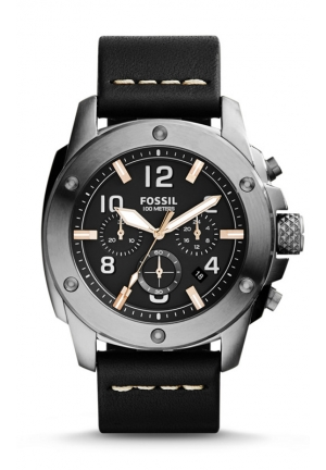 FOSSIL Modern Machine Chronograph Leather Watch - Black 45mm