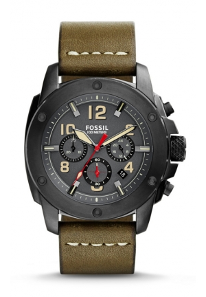 FOSSIL Modern Machine Chronograph Leather Watch - Olive 45mm