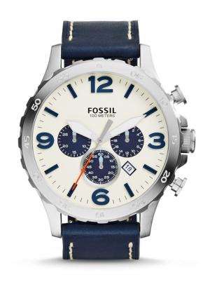 FOSSIL Nate Chronograph Leather Watch - Navy 50mm