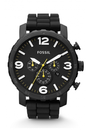 FOSSIL Nate Chronograph Silicone Watch - Black 50mm