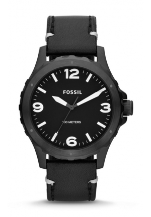 FOSSIL Nate Three-Hand Leather Watch - Black 45mm