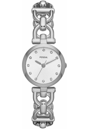 FOSSIL Olive Silver-Tone & Crystal Watch 28mm