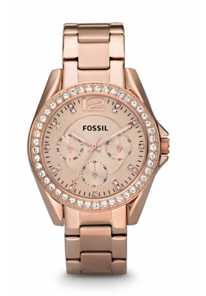 FOSSIL Round Crystal Bezel Bracelet Watch, Rose Gold 38mm