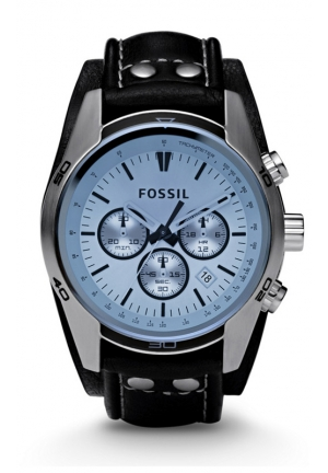 FOSSIL Sport Cuff Chronograph Leather Watch - Black 45mm