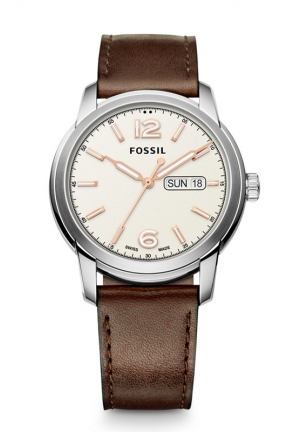 FOSSIL Swiss FS-5 Series Quartz Three-Hand Date Leather Watch - Brown 43mm