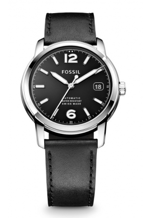 FOSSIL Swiss Made Automatic Leather Watch - Black 38mm