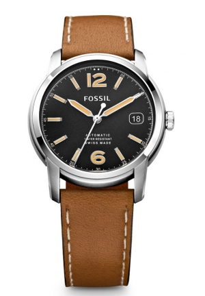 FOSSIL Swiss Made Automatic Leather Watch - Tan 38mm