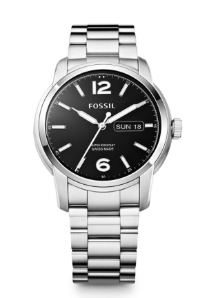 FOSSIL Swiss Made Day/Date Stainless Steel Watch 43mm