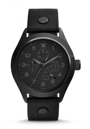 FOSSIL The Aeroflite Multifunction Leather Watch - Black 44mm